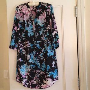 DVF silk shirt dress